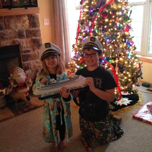 Inflatable ship? Check. Captain hats? Check. Christmas cruise surprise.