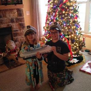 Inflatable ship? Check. Captain hats? Check. Christmas cruise surprise.